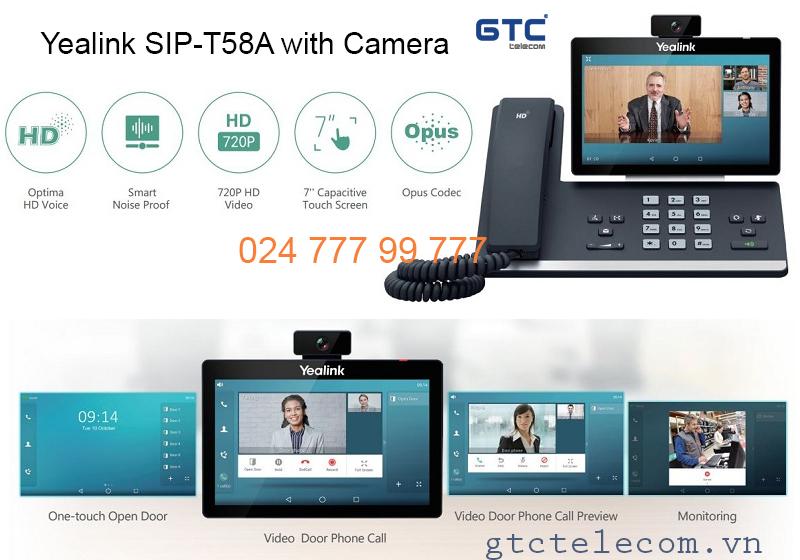 Điện thoại IP Yealink SIP T58A with Camera chất lượng âm thanh, hình ảnh HD