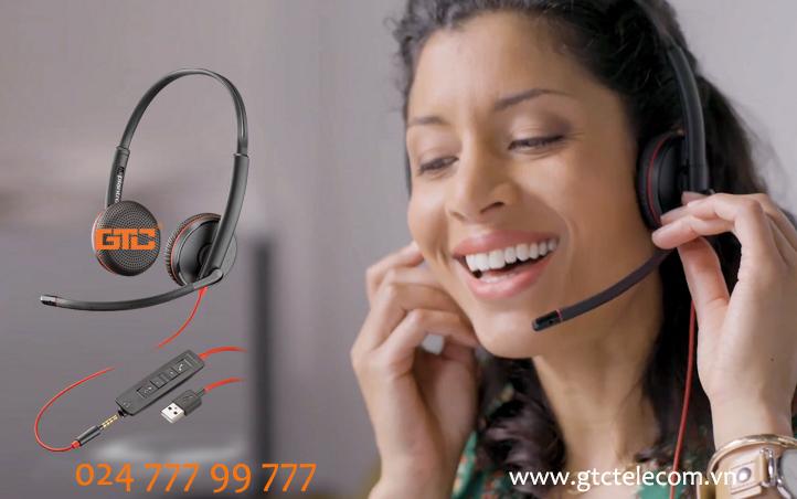 Tai nghe Plantronics Blackwire C3220 USB-C trải nghiệm chất lượng thoại cho các cuộc gọi hội nghị